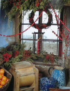 Great book on Christmas Country Decor, etc. Primitive Christmas Decorating, Prim Christmas, Antique Christmas, Country Christmas, Simple Christmas, All Things Christmas, Christmas Time, Christmas Crafts, Christmas Images