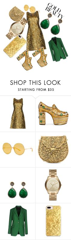 """""""golden bliss"""" by shikha-nijhawan-soni ❤ liked on Polyvore featuring Prada, Gucci, From St Xavier, Liv Oliver, Michael Kors, Jil Sander and Casetify"""