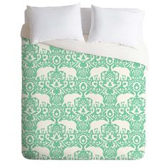 Jacqueline Maldonado Elephant Damask Hemlock Duvet Cover | DENY Designs Home Accessories