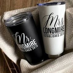 Stainless Steel Travel Tumbler- Drinkware - designtwentyfive Mrs stainless steel tumbler/Mr stainless steel tumbler/Mrs Tumbler/Mr Tumbler/Mr and Mrs/Engagement Gift/Wedding Gift/Bride Gift Wedding Gifts For Bride, Wedding Advice, Bridal Gifts, Wedding Crafts, Cricut Wedding, Creative Wedding Ideas, Personalized Cups, Custom Tumblers, Engagement Gifts