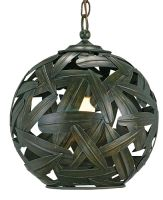 wrought iron leaf covered pendant light