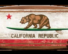 What could be more California? The California Bear is proudly displayed on this environmentally safe green surfboard, enhanced by the state flag