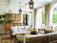 Outdoor Drapes - Design photos, ideas and inspiration. Amazing gallery of interior design and decorating ideas of Outdoor Drapes in decks/patios, pools, kitchens by elite interior designers. Outdoor Drapes, Outdoor Rooms, Outdoor Living, Indoor Outdoor, Patio Curtains, Outdoor Ideas, Outdoor Decor, Canvas Curtains, Large Curtains