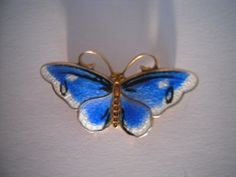 Vintage  butterfly sterling silver /  enamel  Brooch - Norway