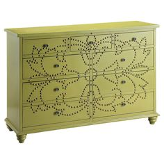 Lend a touch of boho-chic style to your living room or master suite with this statement-making wood chest in green, showcasing a floral nail...