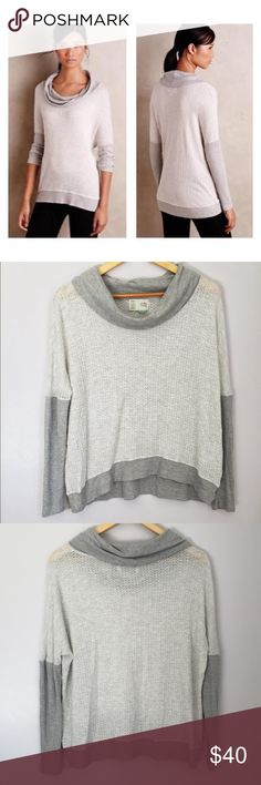Anthropologie Saturday Sunday Cowl Neck Top Cute and comfy top from brand Saturday Sunday purchased from Anthropologie. Material is very soft and lightweight. Somewhat sheer. Gray sleeves and cowl neck and light gray/ white bodice. Size XS but slightly oversized and could comfortably fit size small as well. I'm happy to answer any questions you may have! Anthropologie Tops