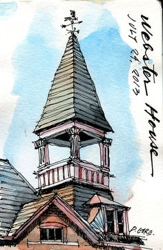 Don Gore webster house tower Lunch hour again. Pen, ink & watercolor in a small watercolor Moleskine. Last page in this book.