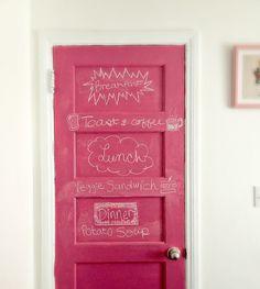 Pink chalkboard door ... Love!