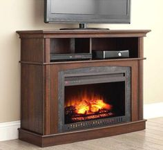 Electric-Fireplace-Entertainment-Center-TV-Stand-Media-Wood-Console-Flame-Heater