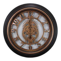 Kiera Grace Gears Wall Clock, Black