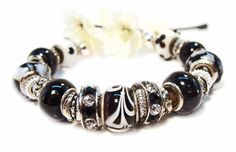 Classic Black and White European Style Bracelet with by GirlieGals