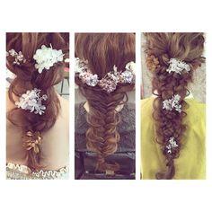* * ウェディングヘア♡ 三つ編み フィッシュボーン 四つ編み #ヘアアレンジ #ウェディング #fashion #コーデ