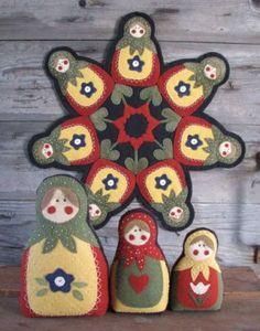 Russian Babushka doll pattern & Penny Rug by The Wooden Spool