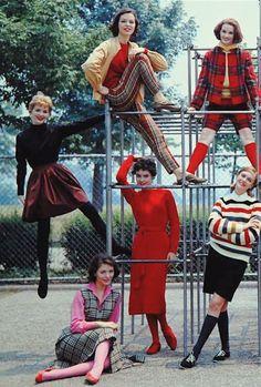 late 50s, early 60s vintage fashion day wear sports shorts skirt dress red black stripe plaid pink sheath jacket pants shoes print ad photo models