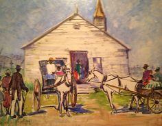 "Rachel V. Hartley (1884-1963), ""Church Meeting"" - Morris Museum of Art ~ Augusta, Georgia, USA"