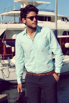 I love the simplicity of this outfit... however, the colors are perfect, just as the fitting is. #menswear #style #shirt #mint #belt #accessories
