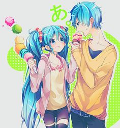Vocaloid! HATSUNE MIKU and get brother!!!.. everyone knows who that is... if you don't GO GOOGLE IT!!