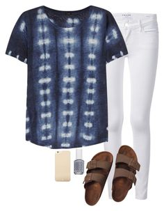 """""""birks & tie dye"""" by marycoulbourn ❤ liked on Polyvore featuring мода, Frame Denim, J.Crew, Birkenstock, Essie и Kate Spade"""