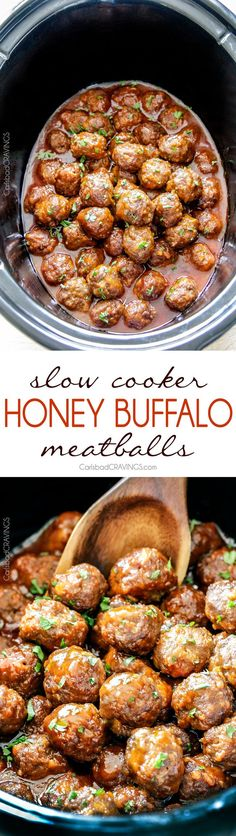 Tender juicy slow cooker Honey Buffalo Meatballs simmered in the. Tender juicy slow cooker Honey Buffalo Meatballs simmered in the most tantalizing sweet heat sauce that everyone goes crazy for! Perfect appetizer or delicious easy meal with rice! Crock Pot Recipes, Slow Cooker Recipes, Beef Recipes, Yummy Recipes, Cooking Recipes, Yummy Food, Recipies, Tasty, Simple Recipes