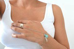 Turquoise Silver Bracelet Ring Boho Slave Bracelet Ring Ring