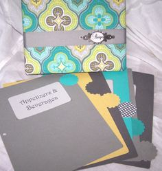 Recipe Binder and Dividers Teal Blue Yellow and by peachykeenday