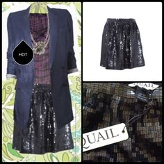 QUAIL ♠️ Sequined Mini Skirt. NWT From French clothing brand, Quail, know for its high quality edgy designs... This chic staple is a must for any fashionistas closet!  Black square sequins on a fully lined,  silk skirt. Hidden side zip and hook closure, darting for gentle fullness.  Perfect piece to dress up or down... From NYE with heels and a sexy top, to street style with a graphic tee, Moto leather and Docs, this piece does it all.  NWT. Quail Skirts Mini