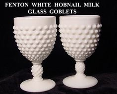 Milk glass goblets that always were out for Thanksgiving & Christmas growing up. Fenton Milk Glass, Tea Glasses, Antique Glass, Serveware, Tableware, Glass Art, Perfume Bottles, Depression, Favorite Things