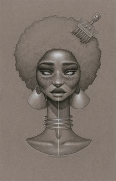 """Toffee Soul"" by Sara Golish Charcoal, conté silver ink on toned paper. 12.5"" x 19.5"""