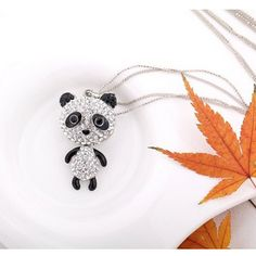 Panda bear rhinestone necklace $16.00 on www.pandathings.com