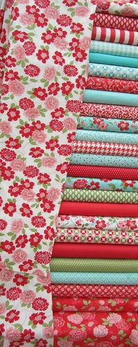 MODA Vintage Modern  Bonnie Camille Red Aqua Blue Fabric Fat Quarter Bundle x 24