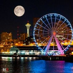 The Seattle Great Wheel is a giant Ferris wheel at Pier 57 on Elliott Bay in Seattle, Washington, United States. With an overall height of 175 feet m), it became the tallest Ferris wheel on the west coast of the United States when it opened on June 2012 Seattle Waterfront, Seattle Area, Seattle Skyline, Seattle Washington, Washington State, Western Washington, Nara, Sleepless In Seattle, Seattle Pride