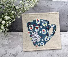 Gift For A Tea Lover, Fabric Coaster, Mother's Day Gift £6.50