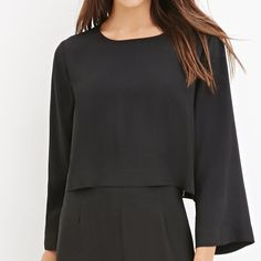 NWT Forever 21 Bell Sleeves Crop Top Sz L Brand new with tags f21 contemporary crop top with beautiful bell sleeves size L fits size 8-10 girls and it is a bit short on me that's why I decided to sell! feel free to offer and feel free to ask any questions sweethearts! Forever 21 Tops Crop Tops
