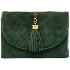 Chanel Vintage Quilted Clutch ($2,080) ❤ liked on Polyvore featuring bags, handbags, clutches, bolsas, carteras, chanel, green, suede handbags, green clutches and chanel handbags