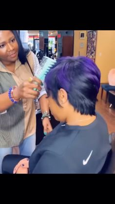 Thoughtful searched thinning hair styles for black women Please view our Short Sew In Hairstyles, Black Women Short Hairstyles, Permed Hairstyles, Black Girl Hair Cuts, Purple Hair Black Girl, Short Sassy Hair, Short Hair Wigs, Curly Hair Styles, Natural Hair Styles