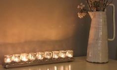 Long Silver Tray with 7 or 9 Antique Silver Glass Tealight Holders