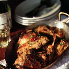 Two of the building blocks of traditional French country cooking, rabbit and dijon mustard, marry nicely in this recipe.