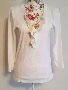 J.Crew Women's Perfect Fit 100% Cotton Size L White Floral Accent Button Down  #JCrew #ButtonDownShirt