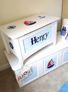 Personalised Wooden Toy Box - Custom Designed Hand-painted - Nautical sailing boat toy box