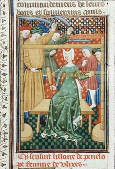 Penelope, De claris mulieribus, British Library Royal 16 G V, fol. 45v, c. 1440.