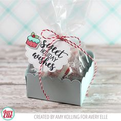 Amy Kolling for Avery Elle Supplies: Sweet Tidings Clear Stamps Sweet Tidings Elle-ments Treat Tag & Box Elle-ments Cherry HempTwine
