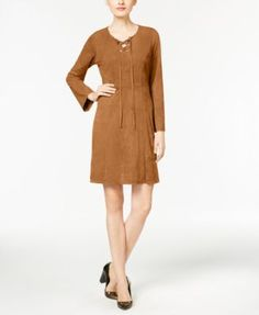 Ny Collection Faux-Suede Lace-Up Fit & Flare Dress - Tan/Beige S