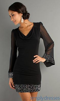 NYE?! This one is almost exactly what i was looking for! Sexy Long Sleeve Short Black Dress  at SimplyDresses.com