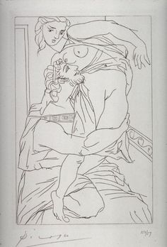 Pablo Picasso - Cinesias and Myrrhine, pl. 3, from the book Lysistrata by Aristophanes (New York: Limited Edition Club, 1934)