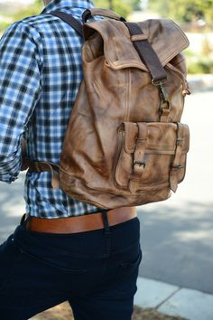 Leather backpack .