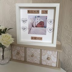 Personalised Born In 2017 Baby Scrabble Frame Personalised