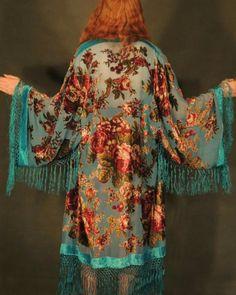 On hold silk kimono jacket / large turquoise blue burnout velvet robe duster coat / devore floral Stevie Nicks festival jacket Gilet Kimono, Poncho, Kimono Jacket, Floral Jacket, Fringe Kimono, Stevie Nicks, Bohemian Mode, Bohemian Style, Boho Chic