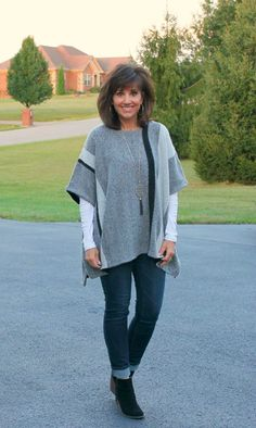 Cute poncho with jeans ankle boots!