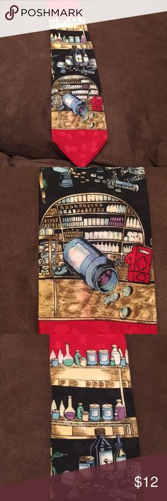 Apothecary men's tie 100% Italian silk. Art Deco Amazing 100% silk tie made by Lorenzo Valentino in Como, Italy.  Great apothecary design in art deco fashion. Excellent conversation starter! Accessories Ties