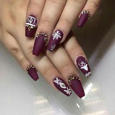#Acrylic #Nails #DarkPurple